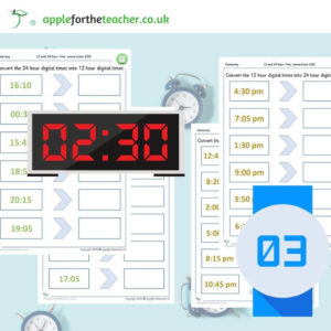 12 and 24 hour clock conversion activity