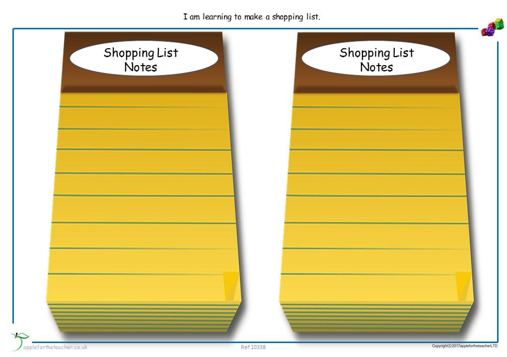 Shopping List Blank | SEN EYFS