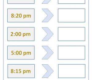 12 Hour 24 Hour Digital Time Conversion Worksheet