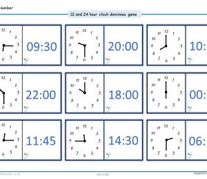 24 Hour Clock Time Dominoes Game
