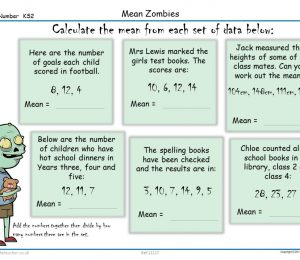 Mean Zombies Activity Sheet Year 6 maths KS2