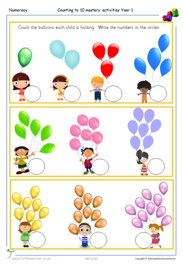 counting to 10 from any number mastery balloons