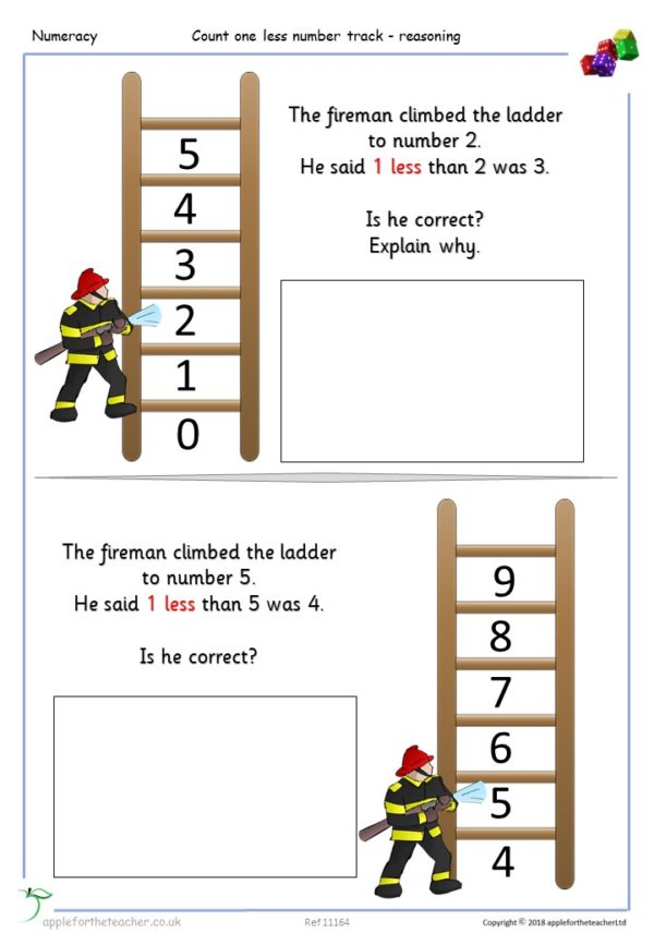 Count one less number track activities with reasoning mastery maths Year 1 KS1