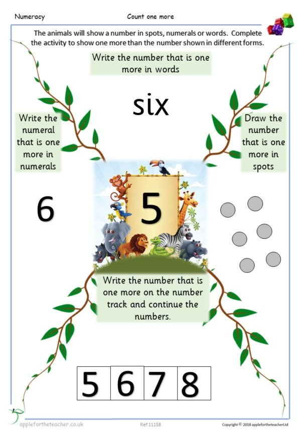 Count one more grid in different ways Year 1 KS1 mastery small steps maths