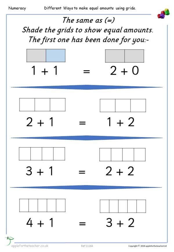 Finding Equal Amounts Addition Grids