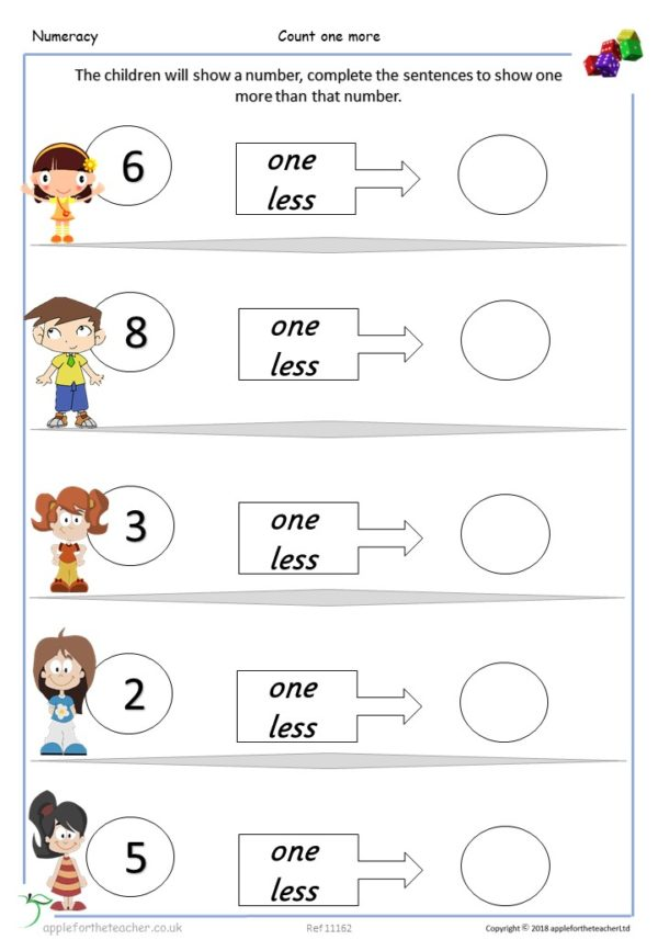 Count one less small steps maths Year 1 KS1