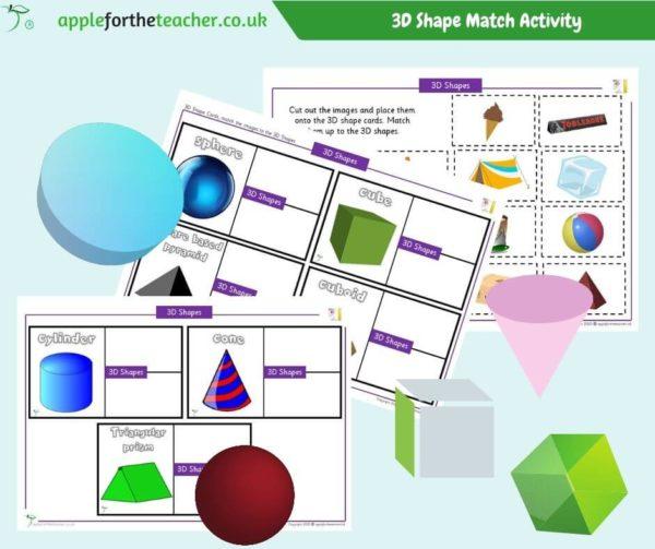 3D Shape Match Activity KS1