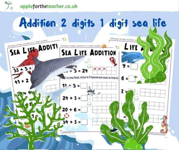 Addition 2 digits 1 digit sea life