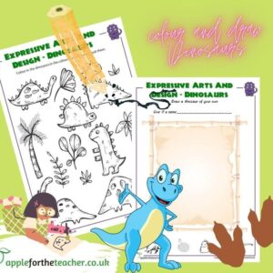 Colour and draw dinosaurs activity