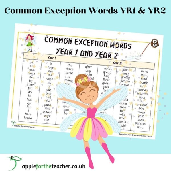 Common Exception Words Table KS1