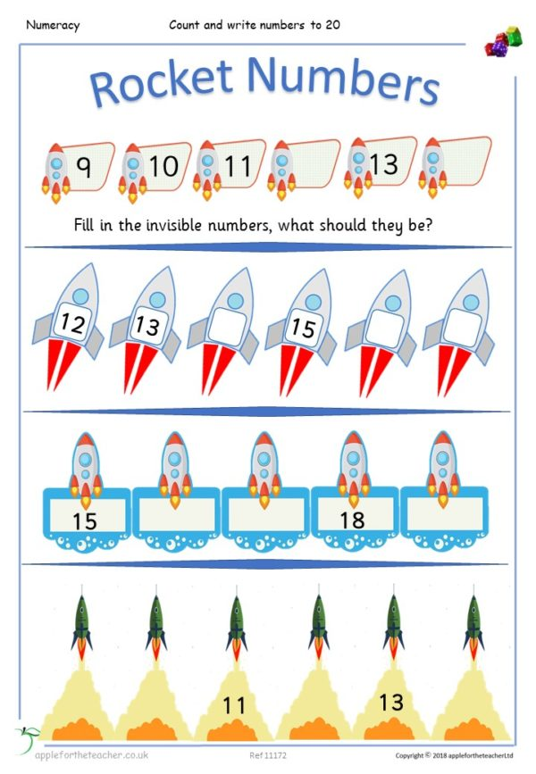 Count & write missing numbers to 20 rockets KS1 Year 1 small steps
