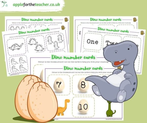 Dinosaur Cut Out Number Cards