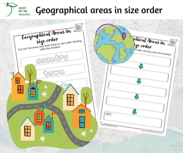 Geographical areas in size order