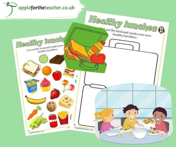 Healthy Lunchbox Cut and Stick Activity