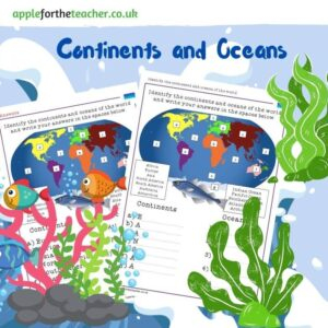 Identify the Continents and Oceans of the world activity