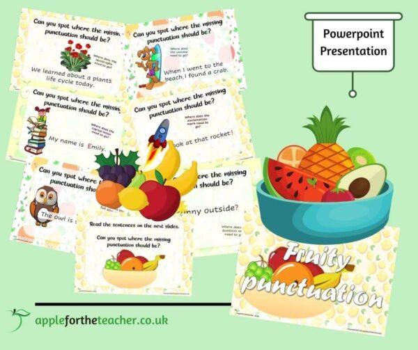 KS1 Fruity Punctuation powerpoint presentation