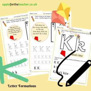 Letter K handwriting sheets