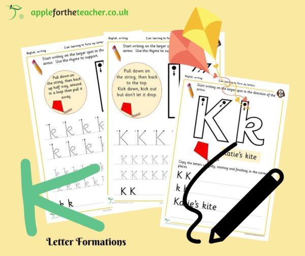 Letter K handwriting sheets