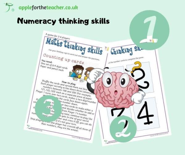 Maths thinking skills Counting Up Cards