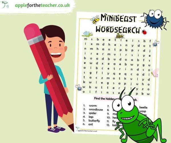 Minibeast wordsearch activity