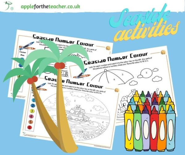 Seaside Number Colour Activity