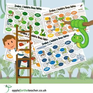 Snakes and ladders times tables games