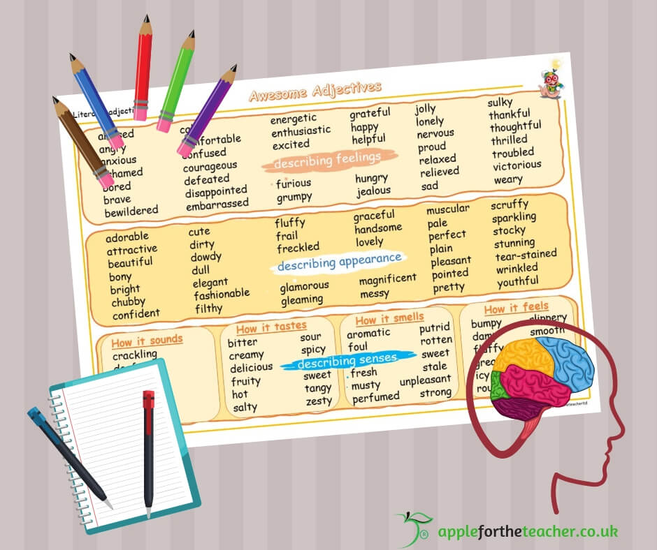 Adjectives Word Mat Literacy Year 6   Apple For The Teacher Ltd
