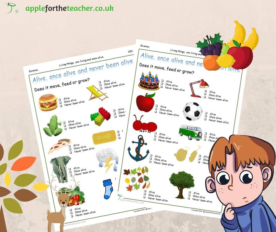 Living Non Living And Never Been Alive Tick Sheet Apple For The Teacher Ltd