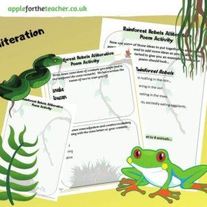 alliteration poem activity rainforest
