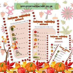 autumn missing letters activity