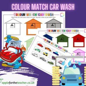 colour match carwash activity EYFS