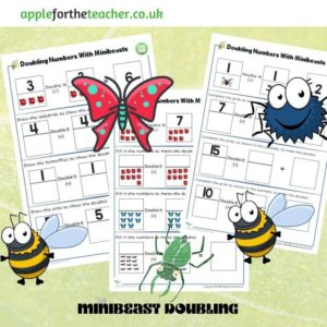 doubling numbers to 15 activity minibeasts