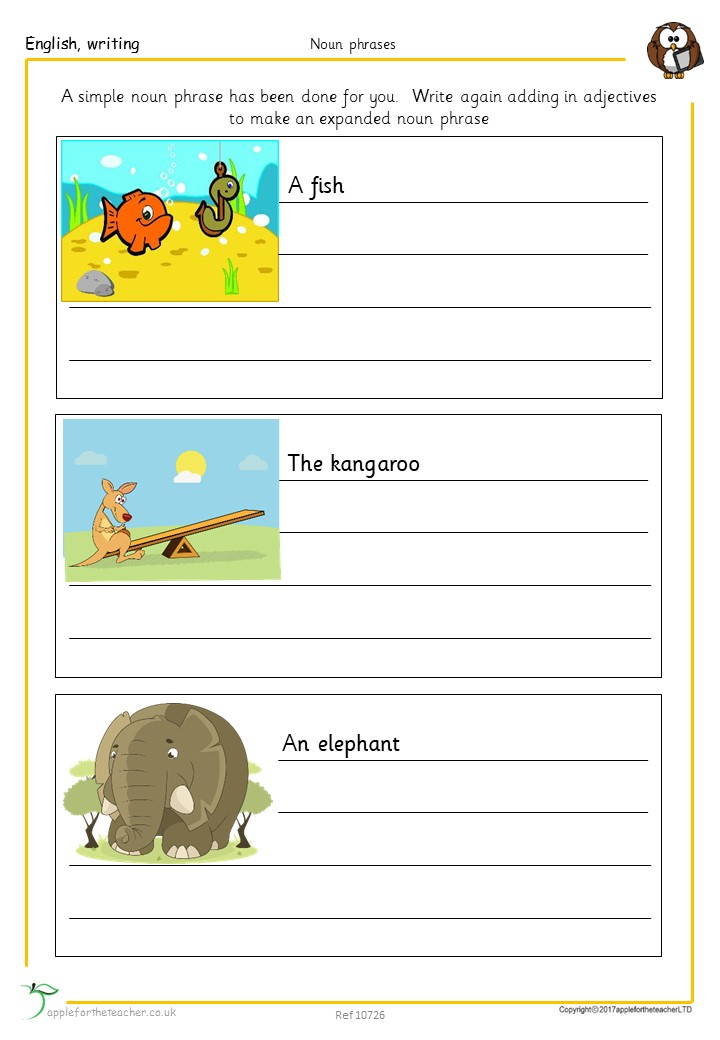 Expanded Nouns Literacy Worksheet With