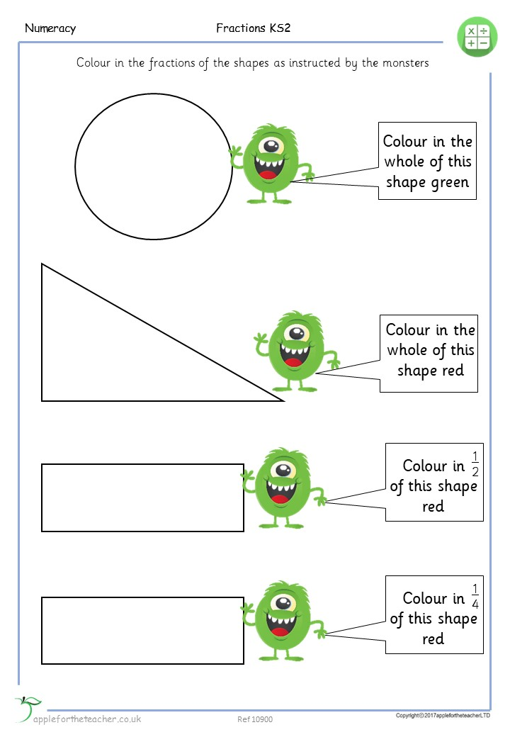 Fractions Of Shapes Halves And Quarters Year 3 | Apple For ...