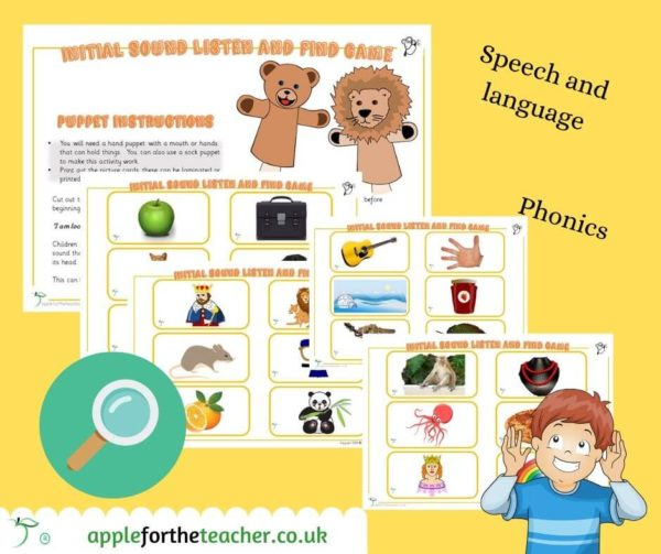 initial sounds listen and find activity phonics
