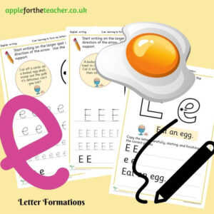 letter Ee handwriting sheet