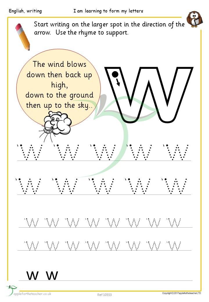 letter ww handwriting sheets apple for the teacher ltd. Black Bedroom Furniture Sets. Home Design Ideas