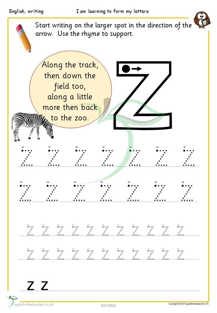 letter zz handwriting sheet apple for the teacher ltd. Black Bedroom Furniture Sets. Home Design Ideas