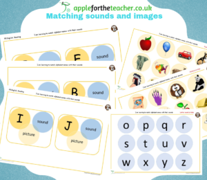 match alphabet names and sounds to pictures