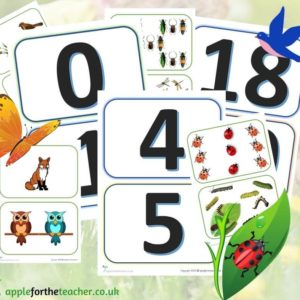 match numeral to quantity woodland cards