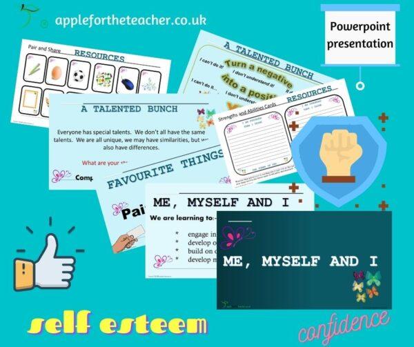 me myself and I self esteem confidence Powerpoint Activity