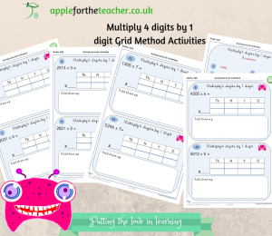 Multiply 4 digits by 1 digit. These activities support the powerpoint and poster which explains in a child friendly way how to do the working out in this partitioning method. These are available to download separately. Each part of the activities can be cut out and stuck in books if required, or they can be completed on the sheets.
