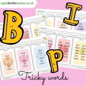 phonics tricky words cards