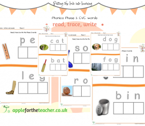 Phonics Phase 2 Read Trace Write