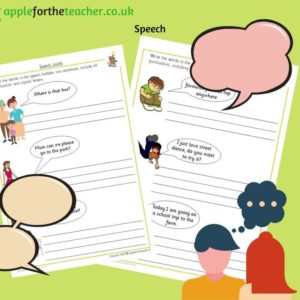 speech sentence writing activity