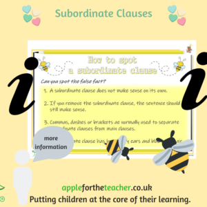 Subordinate Clause Poster. This is a lovely poster to support children by providing a visual prompt of how to use a subordinate clause. Clear examples given to aid learning.