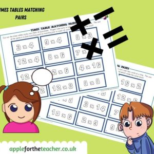 times tables matching pairs ks2