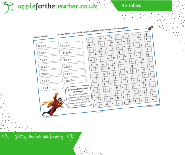 3 Times Tables Numerals To Word search KS2