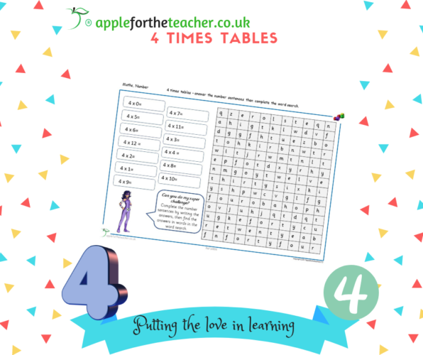 4 Times Tables Numerals To Word Search KS2