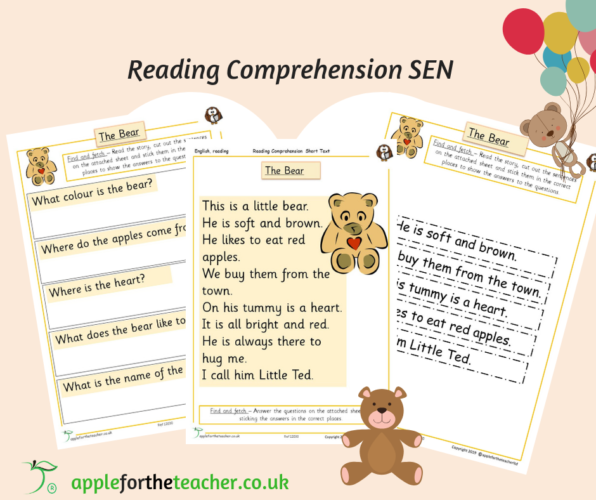 Reading Comprehension Bear Cut and Stick